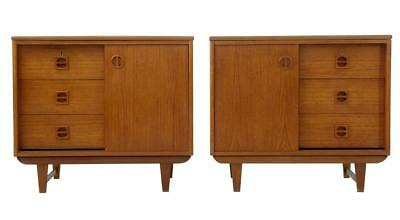 PAIR OF SMALL SCANDINAVIAN 1960's TEAK CHEST CUPBOARDS