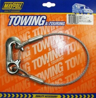 Maypole 0.5M Secondary Coupling Breakaway Safety Cable | Towing Touring Caravan