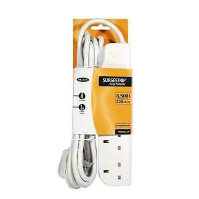 Belkin E-Series 4 Socket, 3-Metre Strip Extension lead / Surge Protector - White