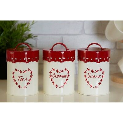 Set Of 3 Anglaise Heart Red Cream Kitchen Tea Coffee Sugar Storage Jar Canisters