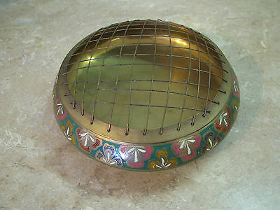 Vintage BRASS BOWL Wire Screen FLOWER FROG LID Etched & Painted Floral INDIA