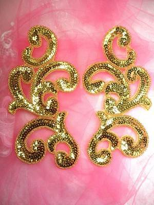 JB261 Sequin Appliques Gold Mirror Pair Beaded Motifs Costume Patch 6.5/""