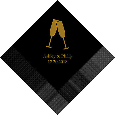 300 Champagne Flutes Personalized Wedding Luncheon Napkins