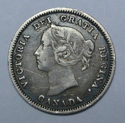 OLD CANADIAN COIN - 1890  H - 5 CENTS - .925 SILVER - Victoria - Nice