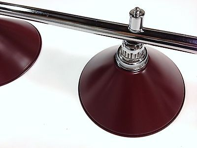 Large QUALITY Pool Snooker Billiard Table Light Chrome with 4 x Burgundy Shades