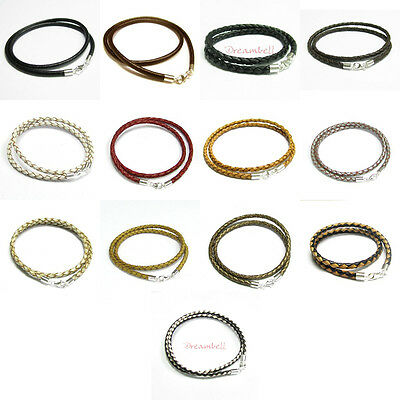 925 Sterling Silver leather cord 3mm 4mm choker necklace Many Colors / Sizes