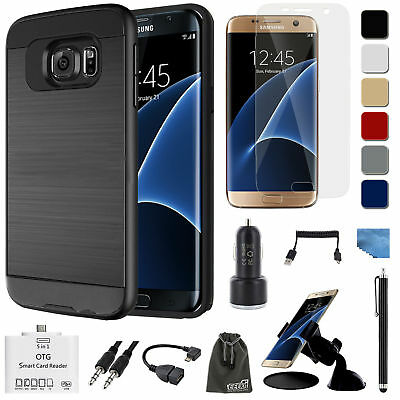 EEEKit Samsung Galaxy S7 edge,Brushed Case Cover+Screen Protector+Accessories