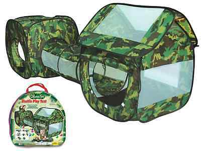 3 Piece Army Camouflage Kids Pop Up Adventure Play Tent House & Tube Tunnel A999