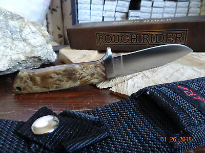 "8 1/4"" Rough Rider Fixed Blade Knife With Nylon Sheath 440A S.s. Burlwood Handle"