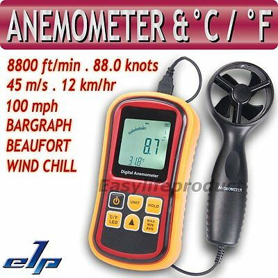 Anémomètre Vitesse Air Vent Windsurf Thermomètre 0~45m/s Bar Graph Surf