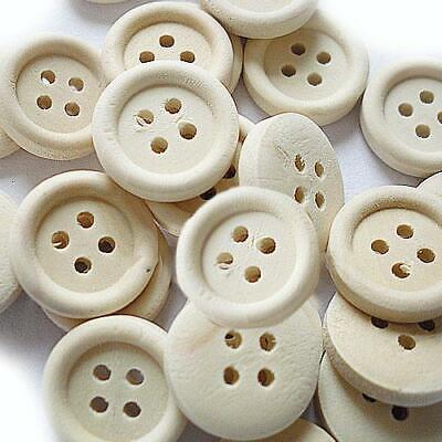 Packet 15 x White Acrylic 25mm Round 4-Holed Sew On Buttons HA11030