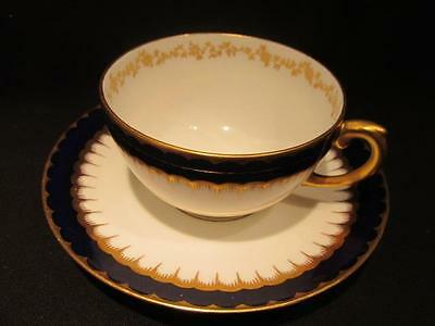 Coalport Beautiful Vintage Cobalt & 14Kt Gold Tea Cup & Saucer #6143