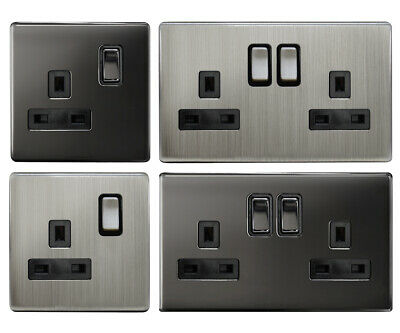 Screwless Slim Flat Wallplate Switches and Sockets Gloss Nickel or Chrome