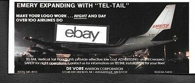 Emery Air Freight Dc-8-63 Freighter De Vore Tel Tail 1985 Ad