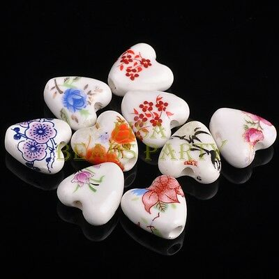 10pcs 14mm Heart Ceramic Porcelain Loose Spacer Big Hole Beads Mixed Colors