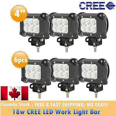 6x 4inch CREE Led Work Light Bar 18w Flood Pods Offroad Lamp SUV Truck Wangler