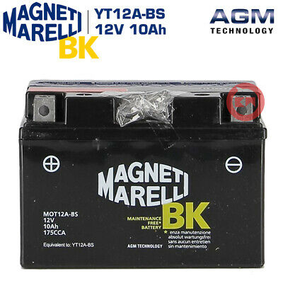 BATTERIA MAGNETI MARELLI YT12A-BS 12V 10Ah KYMCO Downtown 300 2014 2015 2016
