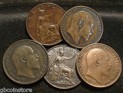 1902 to 1910 EDWARD VII BRONZE FARTHINGS CHOICE OF YEAR CLEAR DATE COLLECTABLES