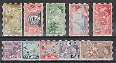 Bermuda Sc 143/158 MNH. 1953-1958 QEII definitives, 10 different from set, F-VF