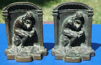 Vintage 1920's Era Pair of Heavy Solid Bronze Bookends - The Thinker