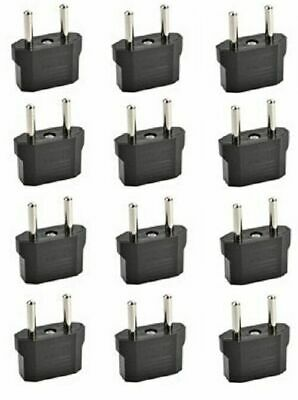 2-Prong American (Flat) to European (Round) Wall Outlet Plug Adapter - 12 Pack