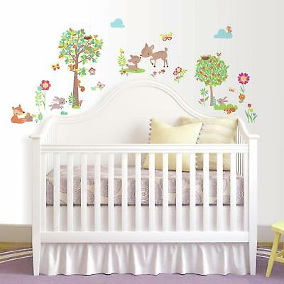 WOODLAND CREATURES WALL DECALS 39 New Baby Forest Animals Stickers Nursery Decor