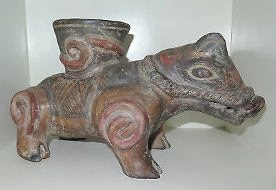 Important Ancient Boar Funerary Pre Columbian  Vessel Statue