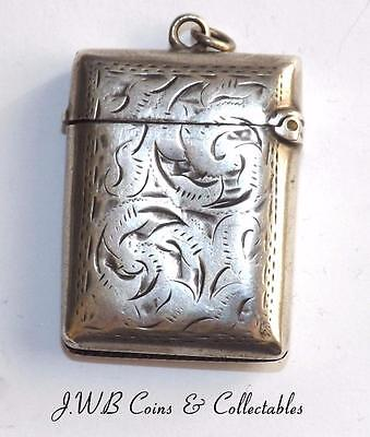 Antique Silver Vesta Case Hallmarked Birmingham 1897 J.G