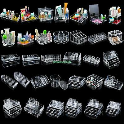 Clear Acrylic Makeup Cosmetic Organizer Case Drawers Jewelry Storage Box Holder