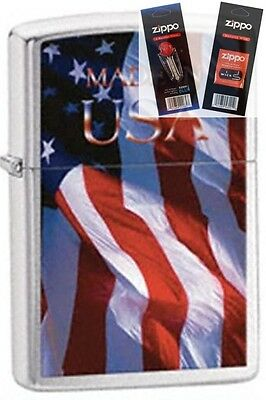 Zippo 24797 made in usa flag Lighter with *FLINT & WICK GIFT SET*