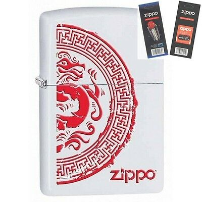 Zippo 28855 seal with dragon Lighter with *FLINT & WICK GIFT SET*