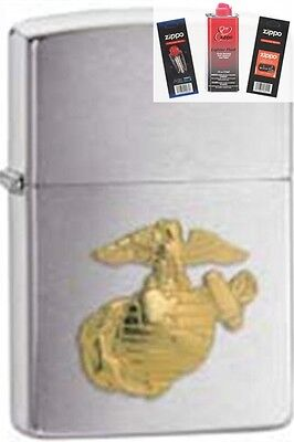 Zippo 280mar marines Lighter + FUEL FLINT & WICK GIFT SET