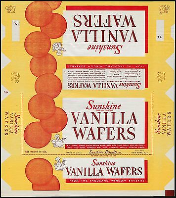 Vintage box wrapper SUNSHINE VANILLA WAFERS baker pictured New York NY unused