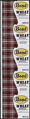 Vintage bread wrapper BOND WHEAT General Baking New York NY new old stock n-mint