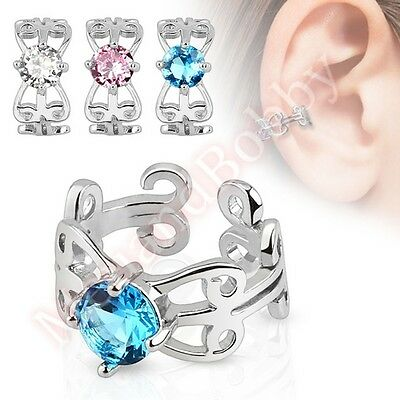 Swirl CZ Non Piercing Clip On Ear Ring Cuff CHOOSE SINGLE OR PAIR
