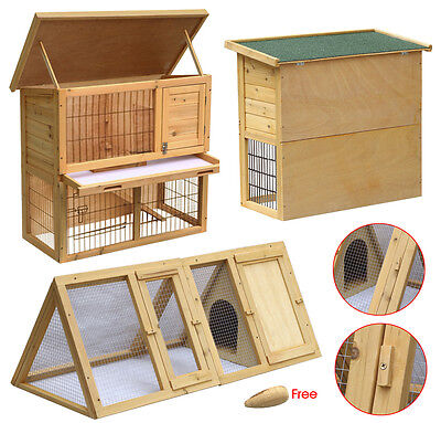 Wooden Rabbit Hutch and Runs Guinea Pig House Ferret Cages Garden Outdoor Home