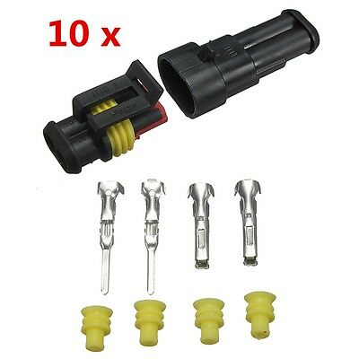 10 Kits Car Auto Set 2 Pin Wire Connector Plug Way Sealed Waterproof Electrical