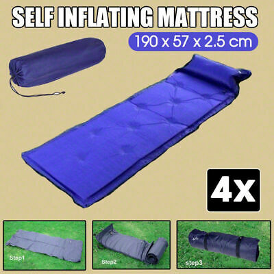 4x Self Inflating Mattress Airbed Camping Hiking Mat Sleeping w/ Pillow Bag