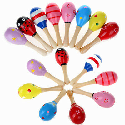 1Pcs Colorful Baby Child Wooden Maraca Rattles Musical Instrument Shaker Toys