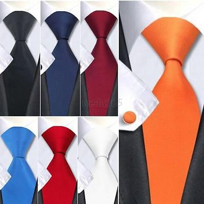 Classic Solid Plain Men's Silk Tie Jacquard Woven Wedding Party Necktie Set Hot