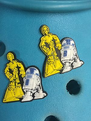2 Star Wars R2D2 C3PO Shoe Charms For Crocs & Jibbitz Wristbands. Free UK P&P.