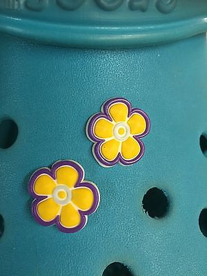 2 Yellow Flower Shoe Charms For Crocs & Jibbitz Wristbands. Free UK P&P.