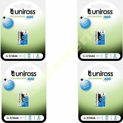 8 x UNIROSS 2/3AAA 1.2V 400 Series IDECT Rechargeable BATTERIES 2/3 AAA mAh