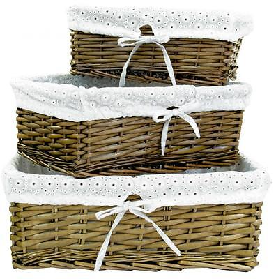 e2e Brown Wicker Shallow Storage Display Basket Box with Embroidered White Liner