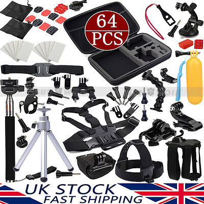 64in1 Go pro Kit Fetch Chest Monopod Mount For GoPro Hero 4 3+ 2 Accessories Set