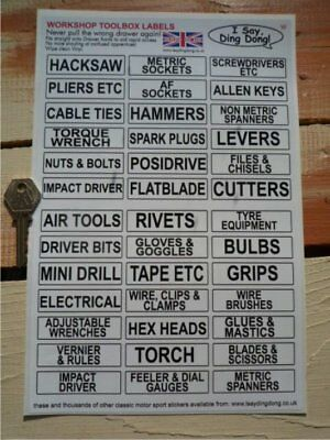 WORKSHOP Black&White TOOL DRAW LABELS for Quick ID. Garage Toolbox Organisation