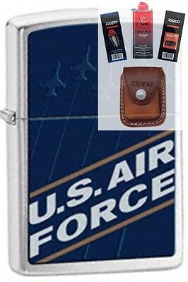 Zippo 24827 united states air force Lighter + FUEL FLINT WICK POUCH GIFT SET
