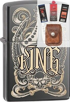 Zippo 28798 king-venetian design Lighter + FUEL FLINT WICK POUCH GIFT SET