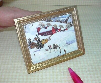 """Miniature """"Bringing Home Christmas Tree"""" Framed Picture for DOLLHOUSE 1/12 Scale"""
