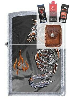 Zippo 3538 Dragon and Flame Lighter + FUEL FLINT WICK POUCH GIFT SET
